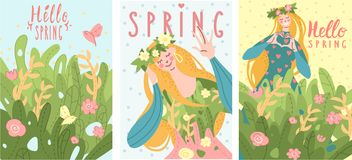 A group of gentle cards congratulating the arrival of spring. Set of three spring cards with girl and flower. Beautiful template with gentle color. Colorful royalty free illustration