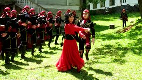 Group of Georgian children dancing stock video footage