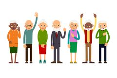 Group of gesticulating elderly people. Aged people caucasian and african. Elderly men and women. Illustration in flat style. Isolated Royalty Free Stock Images