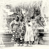 Group of Ghanaian people at the local market Stock Photos