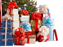 Group gift box, christmas tree with blue ball. Royalty Free Stock Photos