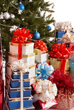 Group Gift Box, Christmas Tree With Blue Ball. Stock Photography