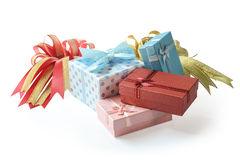 Group of Gift boxes with  ribbon and bow isolated on the white Royalty Free Stock Image