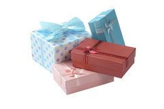 Group of Gift boxes with  ribbon and bow isolated on the white Stock Photo