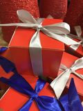 A group of gifts with colorful ribbon for sale Stock Images