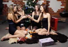 Group of gilrs celebrated christmas Stock Photos