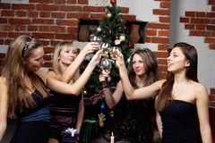 Group of gilrs celebrated christmas Royalty Free Stock Photo