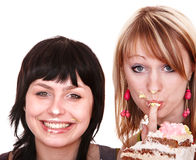 Group  girl eating chocolate cake. Royalty Free Stock Photos