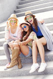 Group of girl friends having fun in the city Royalty Free Stock Images