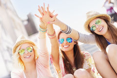 Group of girl friends having fun in the city Stock Photography