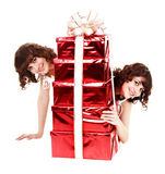 Group girl twins with red gift box. Stock Image