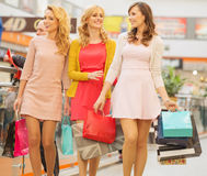 Group of girlfriends at the shopping Stock Images