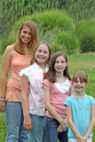 Group of Girls. Posing outdoors Royalty Free Stock Images