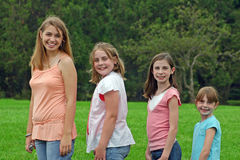 Group of Girls. Posing outdoors Royalty Free Stock Photo