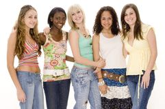 Group of Girls. A group of five young women in casual clothing on white background Royalty Free Stock Photo