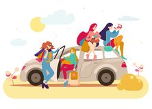 Group of girls with bags after shopping in a car.  royalty free illustration