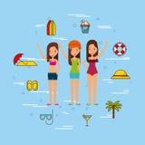 Group girls beach illustration Stock Photo