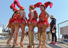 Group of girls in Bolivian Independence Day parade in Brazil Stock Image