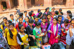 Group of girls buying cloth in the courtyard of Jama Masjid, Fat Royalty Free Stock Photos