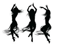 Group of girls dancing and jumping vector illustration