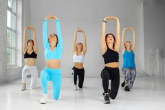 A group of girls doing aerobics in the gym. Copy space. The concept of sports, a healthy lifestyle, fitness, stretching and. A group of girls doing aerobics in stock image