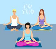A group of girls doing yoga in the studio. women in lotus position. Meditating girl illustration. Yoga woman, meditation, anti-str. Ess people Royalty Free Stock Photo
