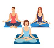 A group of girls doing yoga in the studio. women in lotus position. Meditating girl illustration. Yoga woman, meditation, anti-str. Ess people Royalty Free Stock Image