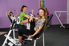 Group of girls in the fitness center Stock Photo
