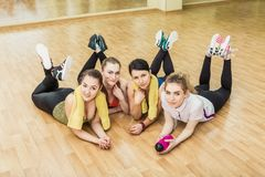 Group of girls in fitness class at the break Royalty Free Stock Image