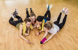 Group of girls in fitness class at the break Stock Photos