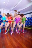 Group of girls in fitness studio Royalty Free Stock Photo
