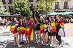 Madrid, Spain; July 06, 2019: Group of girls celebrating gay pride day stock images