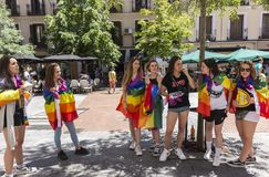 Madrid, Spain; July 06, 2019: Group of girls celebrating gay pride day stock photography