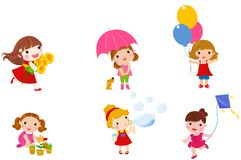 Group of girls. Group of little girls collection.illustration Royalty Free Stock Image
