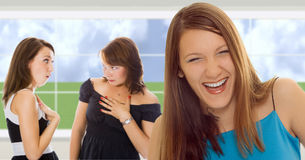 Group girls in interior Royalty Free Stock Images