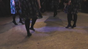 Group of girls perform professionally Irish folk dance stock footage