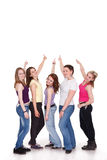 Group of girls pointing to copy Stock Photography