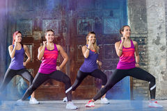 Group of girls practices vive outside Stock Images