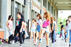 Group of girls practicing dances in Taipei Royalty Free Stock Image