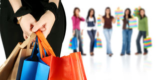 Group of girls shopping Stock Photography