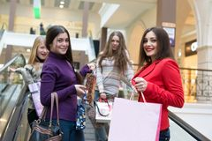 Group of girls. At the shopping center Stock Photography