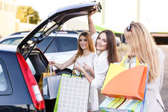 Group of girls after shopping Royalty Free Stock Photo