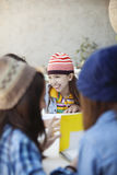 Group of girls studying Royalty Free Stock Photography