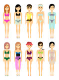 Group of girls in a swimsuit. Vector. Royalty Free Stock Images