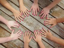 A group of girl hands Royalty Free Stock Images