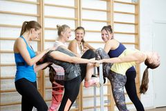 Group of girls after training smiling and talking Stock Photography