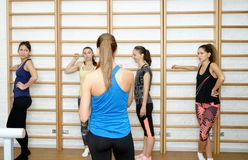 Group of girls after training smiling and talking.  Royalty Free Stock Photography