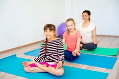 Girls in a gym stock images