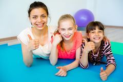 Girls in a gym royalty free stock photography
