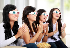Group of girls watching good 3D movie Royalty Free Stock Image